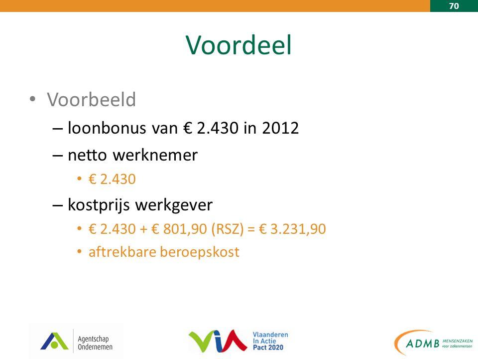 70 Voordeel Voorbeeld – loonbonus van € 2.430 in 2012 – netto werknemer € 2.430 – kostprijs werkgever € 2.430 + € 801,90 (RSZ) = € 3.231,90 aftrekbare beroepskost
