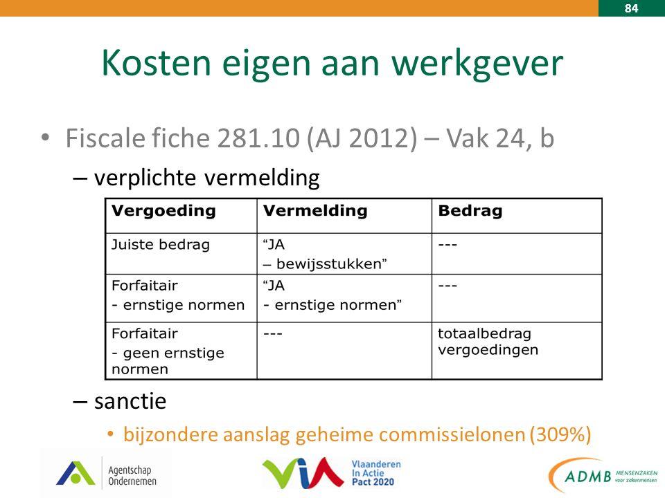 84 Kosten eigen aan werkgever Fiscale fiche 281.10 (AJ 2012) – Vak 24, b – verplichte vermelding – sanctie bijzondere aanslag geheime commissielonen (309%)