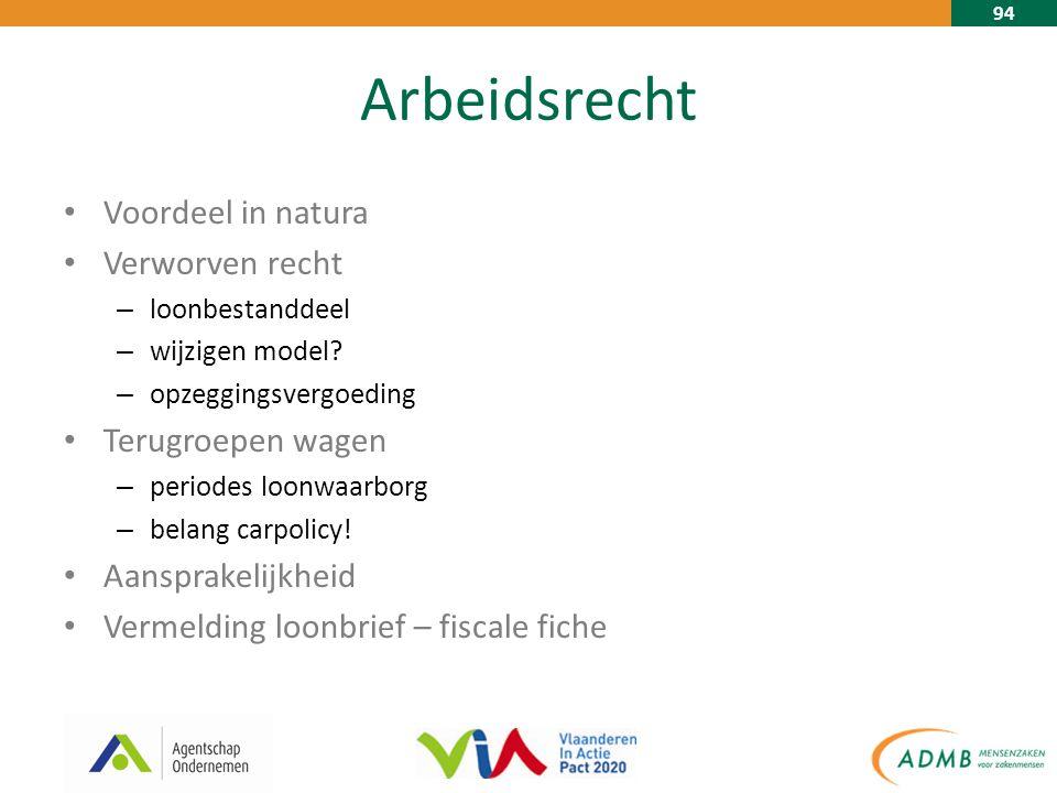 94 Arbeidsrecht Voordeel in natura Verworven recht – loonbestanddeel – wijzigen model.