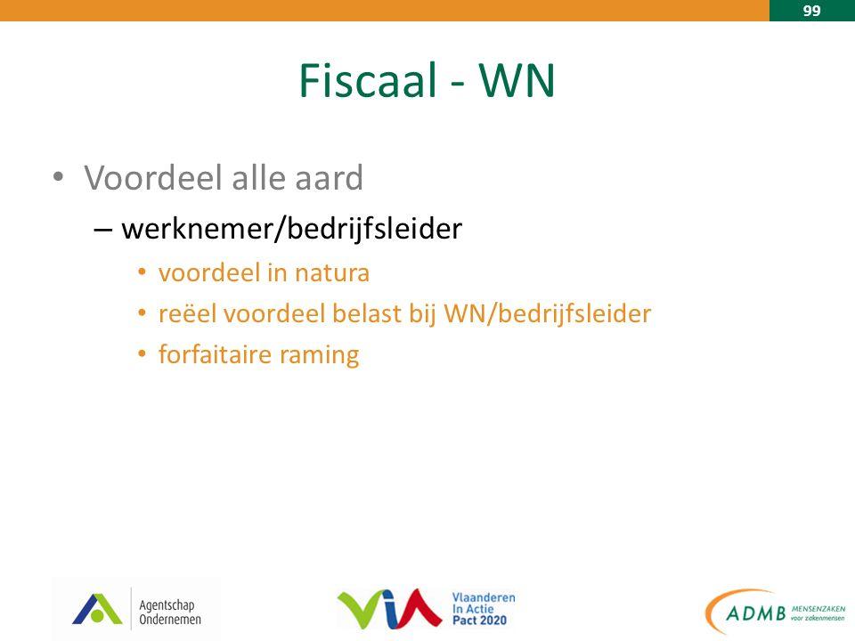 99 Fiscaal - WN Voordeel alle aard – werknemer/bedrijfsleider voordeel in natura reëel voordeel belast bij WN/bedrijfsleider forfaitaire raming