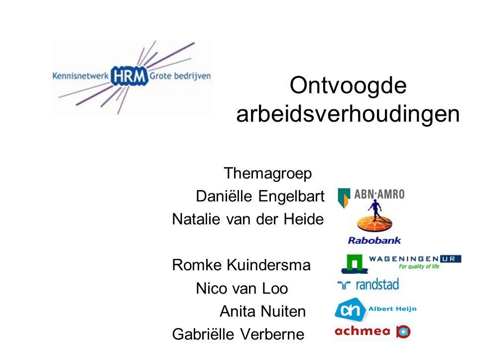 Ontvoogde arbeidsverhoudingen Themagroep Daniëlle Engelbart Natalie van der Heide Romke Kuindersma Nico van Loo Anita Nuiten Gabriëlle Verberne