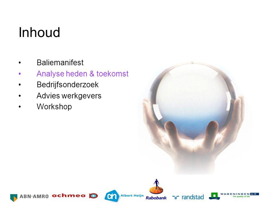 Inhoud Baliemanifest Analyse heden & toekomst Bedrijfsonderzoek Advies werkgevers Workshop HR Netwerk Grote Bedrijven