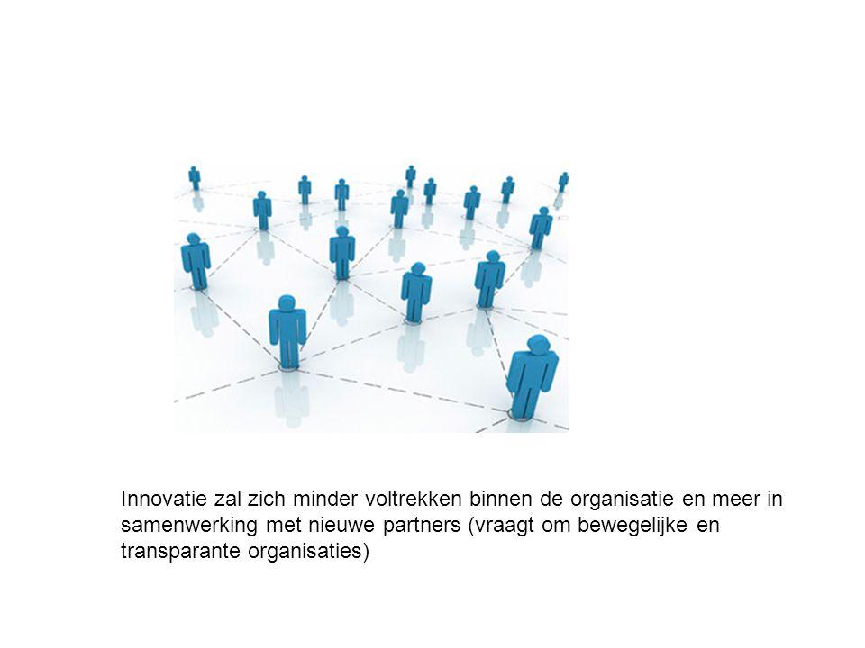 Innovatie zal zich minder voltrekken binnen de organisatie en meer in samenwerking met nieuwe partners (vraagt om bewegelijke en transparante organisa