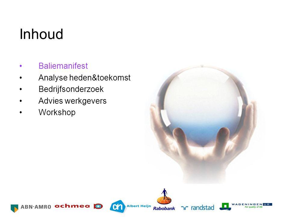 Inhoud Baliemanifest Analyse heden&toekomst Bedrijfsonderzoek Advies werkgevers Workshop HR Netwerk Grote Bedrijven