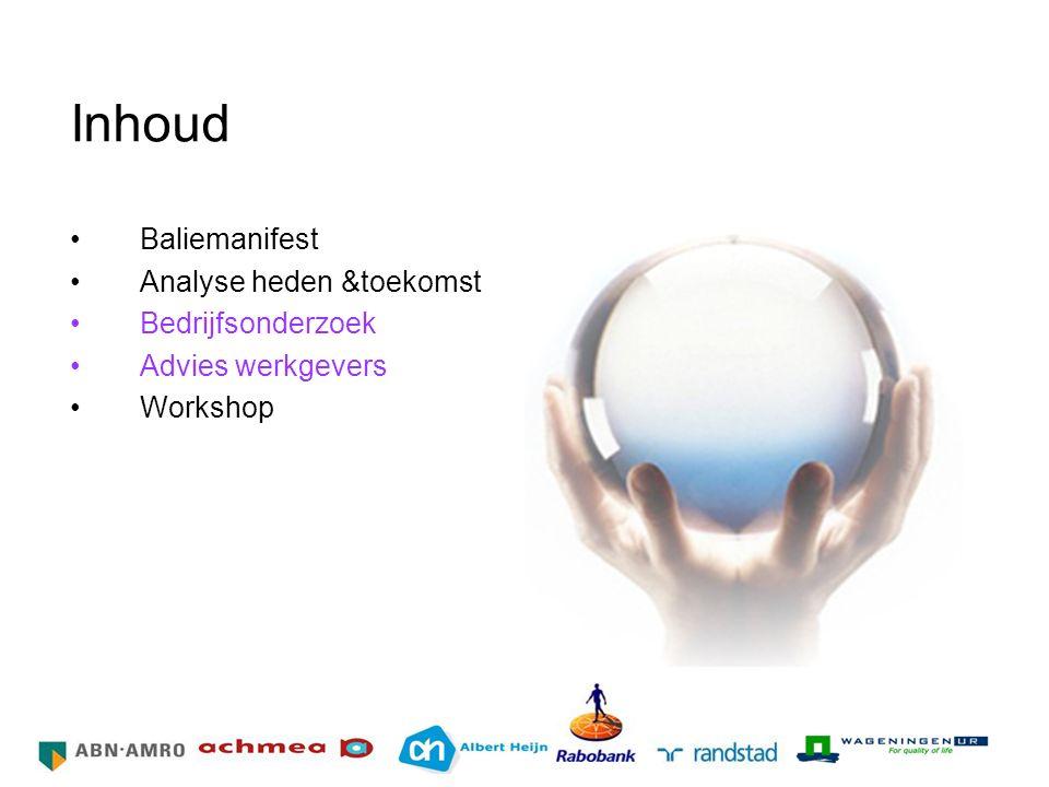 Inhoud Baliemanifest Analyse heden &toekomst Bedrijfsonderzoek Advies werkgevers Workshop HR Netwerk Grote Bedrijven