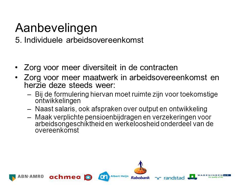 Aanbevelingen 5. Individuele arbeidsovereenkomst Zorg voor meer diversiteit in de contracten Zorg voor meer maatwerk in arbeidsovereenkomst en herzie