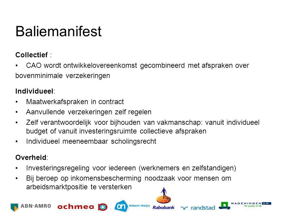 Baliemanifest Collectief : CAO wordt ontwikkelovereenkomst gecombineerd met afspraken over bovenminimale verzekeringen Individueel: Maatwerkafspraken