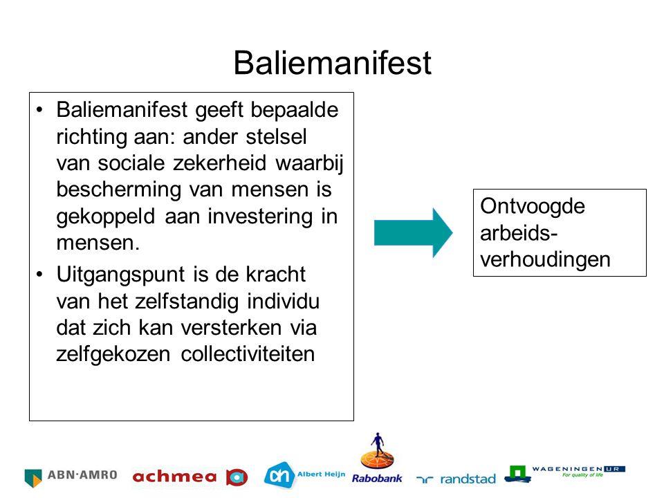 Baliemanifest Baliemanifest geeft bepaalde richting aan: ander stelsel van sociale zekerheid waarbij bescherming van mensen is gekoppeld aan investeri