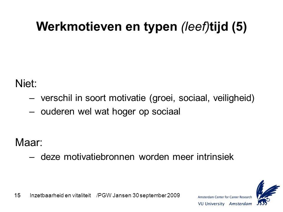 15Inzetbaarheid en vitaliteit /PGW Jansen 30 september 200915 Werkmotieven en typen (leef)tijd (5) Niet: – verschil in soort motivatie (groei, sociaal