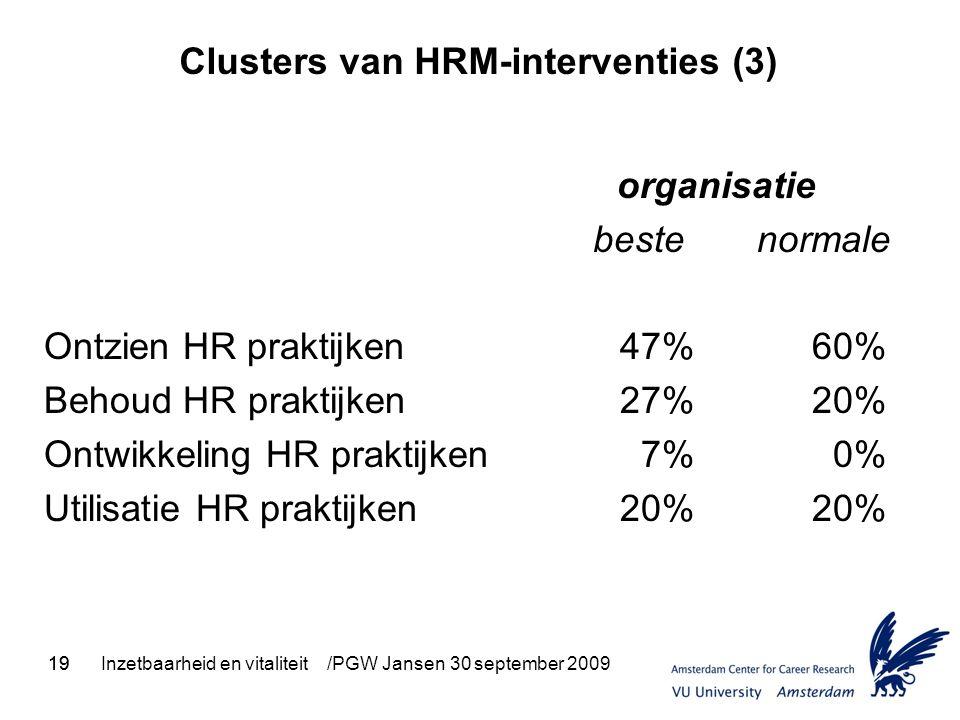 19Inzetbaarheid en vitaliteit /PGW Jansen 30 september 200919 Clusters van HRM-interventies (3) organisatie beste normale Ontzien HR praktijken47%60% Behoud HR praktijken27%20% Ontwikkeling HR praktijken 7% 0% Utilisatie HR praktijken20%20%