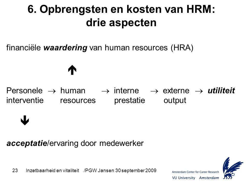 23Inzetbaarheid en vitaliteit /PGW Jansen 30 september 2009 6. Opbrengsten en kosten van HRM: drie aspecten financiële waardering van human resources