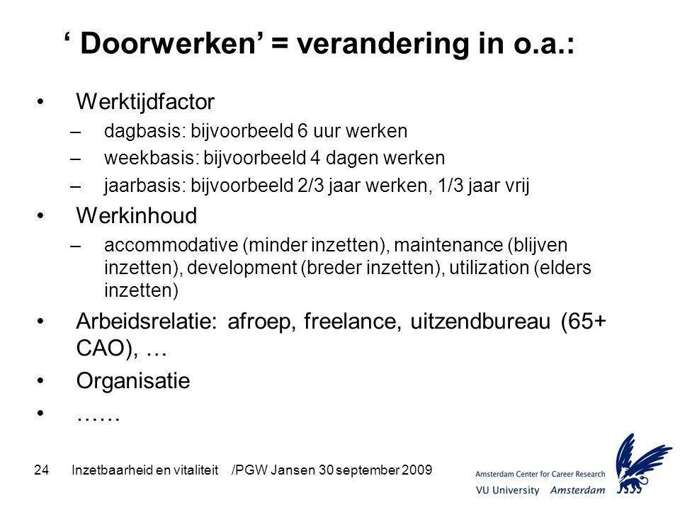 24Inzetbaarheid en vitaliteit /PGW Jansen 30 september 2009 ' Doorwerken' = verandering in o.a.: Werktijdfactor –dagbasis: bijvoorbeeld 6 uur werken –