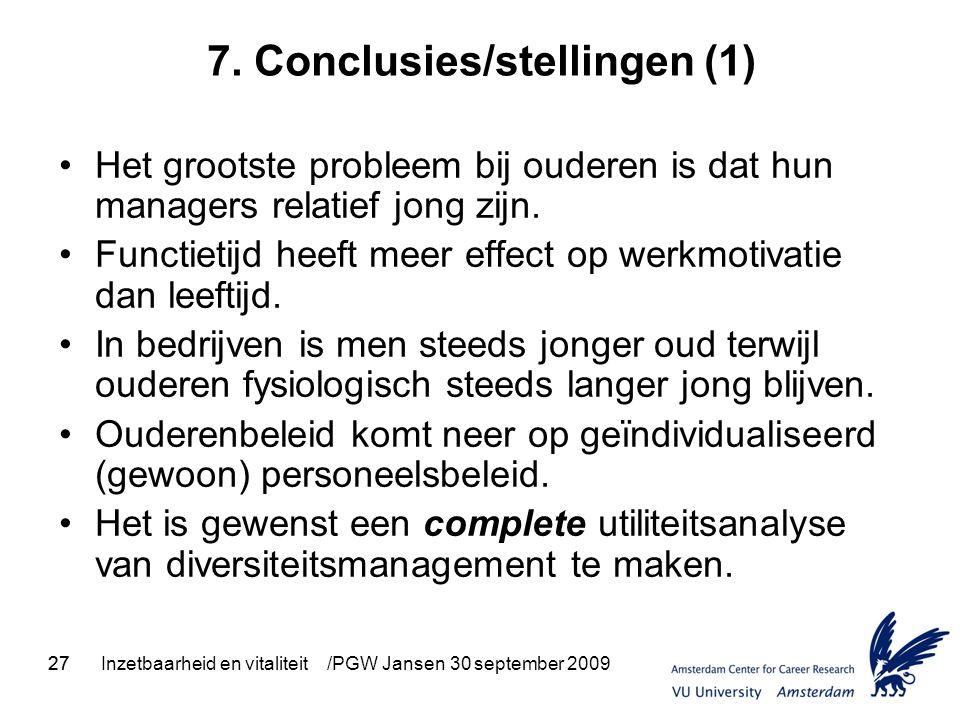 27Inzetbaarheid en vitaliteit /PGW Jansen 30 september 200927 7. Conclusies/stellingen (1) Het grootste probleem bij ouderen is dat hun managers relat