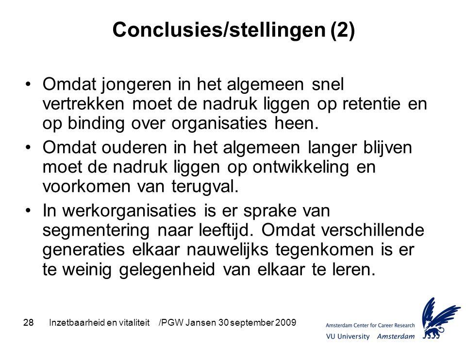 28Inzetbaarheid en vitaliteit /PGW Jansen 30 september 200928 Conclusies/stellingen (2) Omdat jongeren in het algemeen snel vertrekken moet de nadruk liggen op retentie en op binding over organisaties heen.