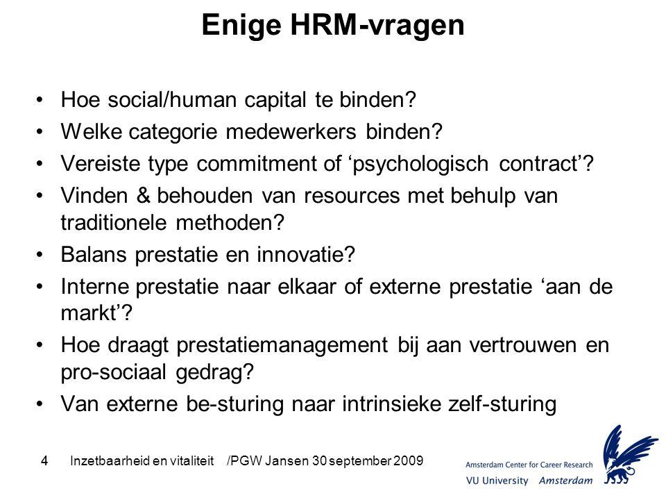 4Inzetbaarheid en vitaliteit /PGW Jansen 30 september 20094 Enige HRM-vragen Hoe social/human capital te binden? Welke categorie medewerkers binden? V
