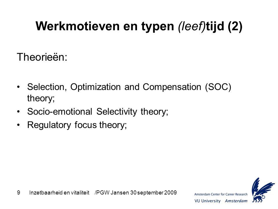 9Inzetbaarheid en vitaliteit /PGW Jansen 30 september 2009 Werkmotieven en typen (leef)tijd (2) Theorieën: Selection, Optimization and Compensation (S