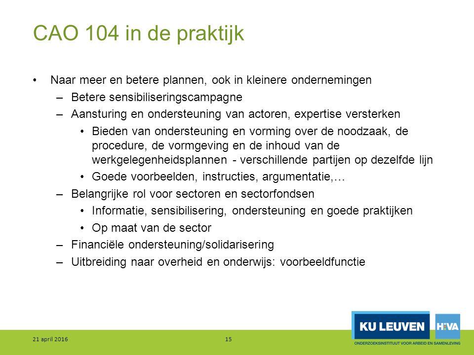 CAO 104 in de praktijk Naar meer en betere plannen, ook in kleinere ondernemingen –Betere sensibiliseringscampagne –Aansturing en ondersteuning van ac