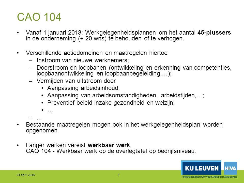 CAO 104 Vanaf 1 januari 2013: Werkgelegenheidsplannen om het aantal 45-plussers in de onderneming (+ 20 wns) te behouden of te verhogen. Verschillende