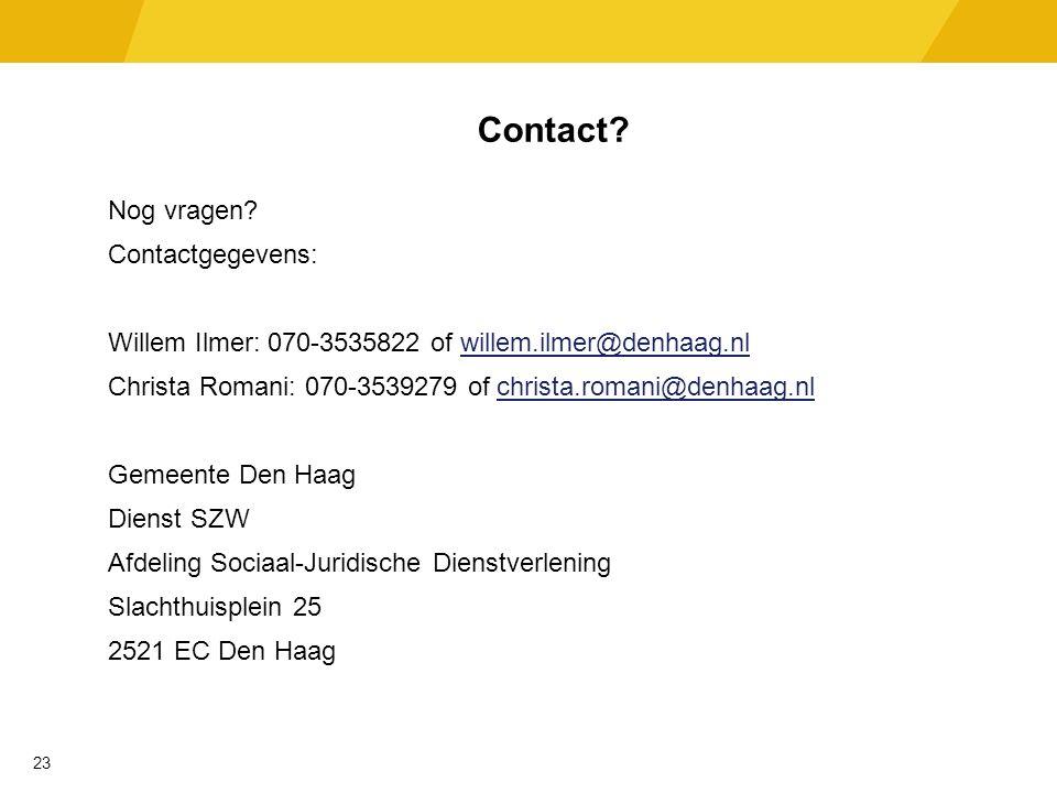 Contact. Nog vragen.