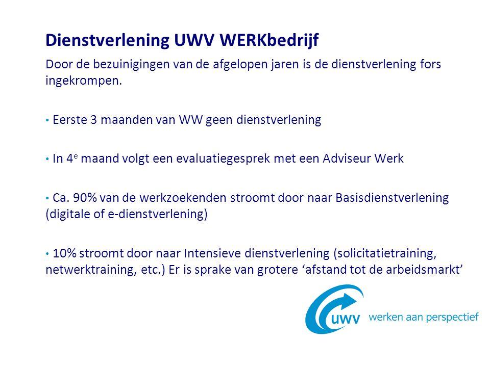 Dienstverlening UWV WERKbedrijf Door de bezuinigingen van de afgelopen jaren is de dienstverlening fors ingekrompen.