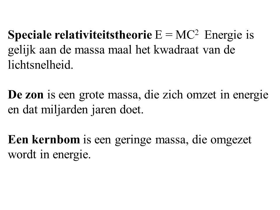 Speciale relativiteitstheorie E = MC 2 Energie is gelijk aan de massa maal het kwadraat van de lichtsnelheid.