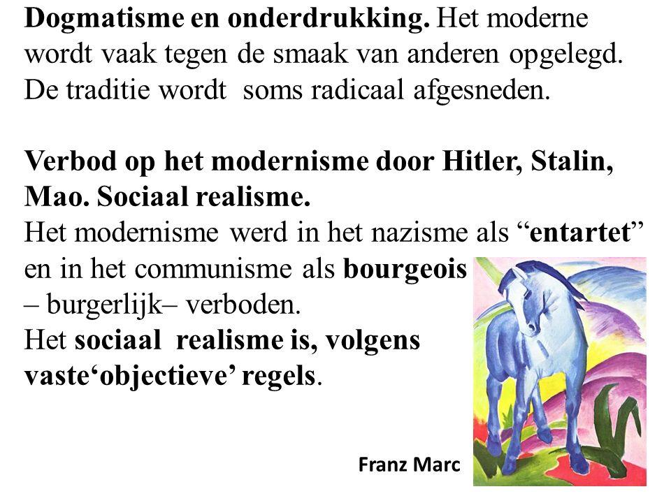 Dogmatisme en onderdrukking. Het moderne wordt vaak tegen de smaak van anderen opgelegd.