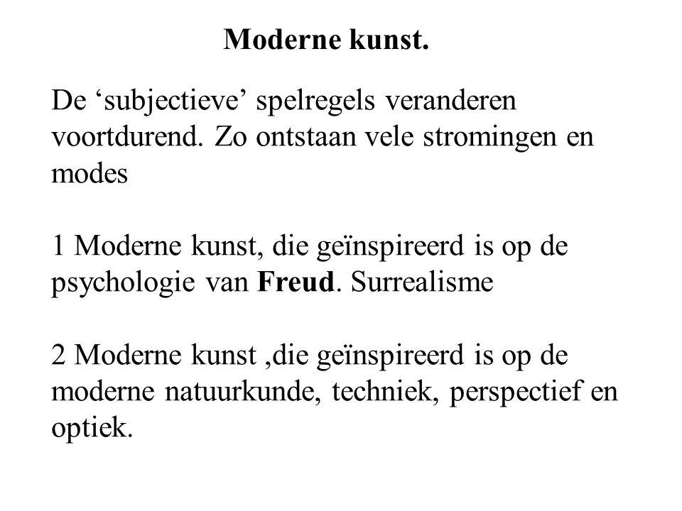 Moderne kunst.De 'subjectieve' spelregels veranderen voortdurend.