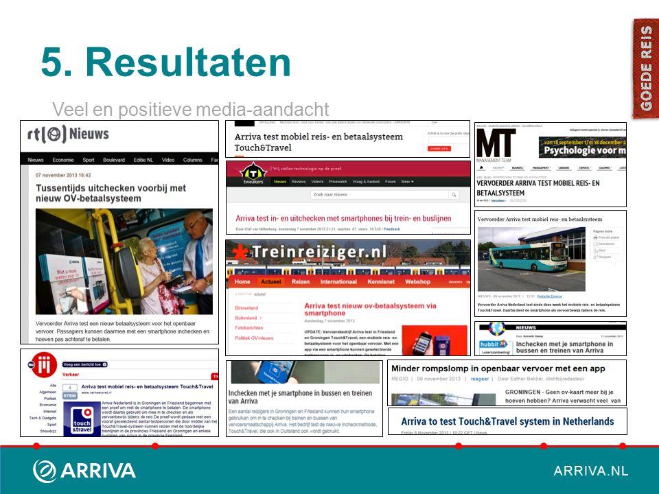 ARRIVA.NL 5. Resultaten Veel en positieve media-aandacht