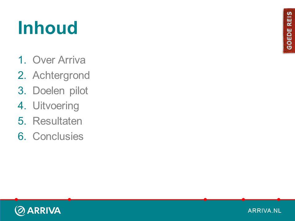 ARRIVA.NL Inhoud 1.Over Arriva 2.Achtergrond 3.Doelen pilot 4.Uitvoering 5.Resultaten 6.Conclusies