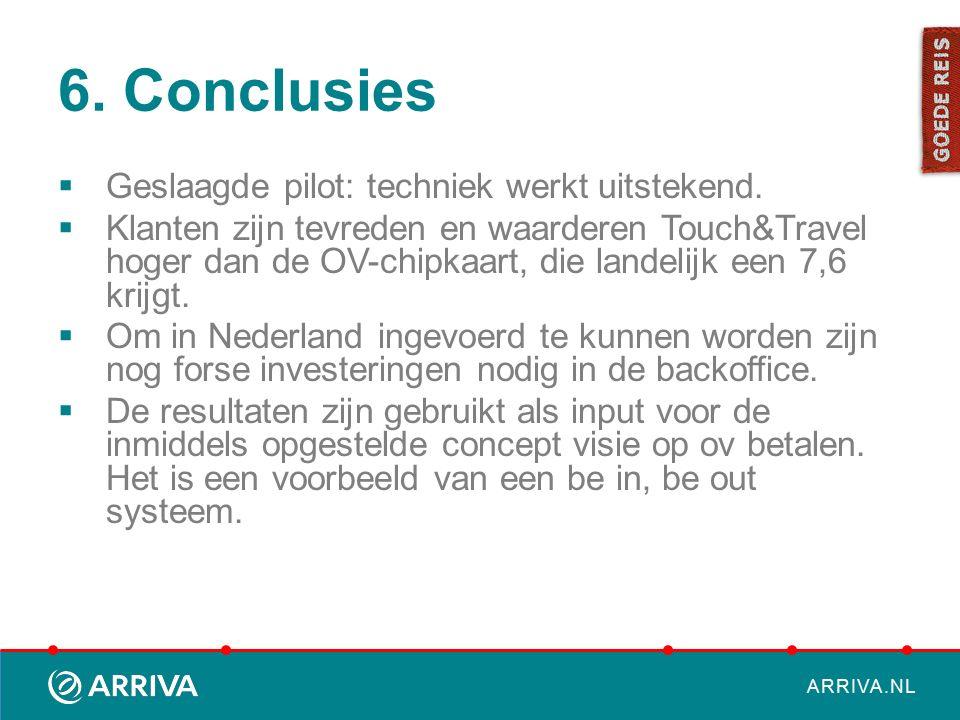 ARRIVA.NL 6. Conclusies  Geslaagde pilot: techniek werkt uitstekend.