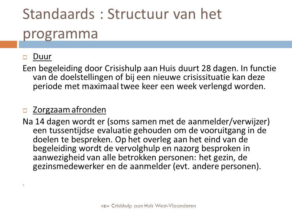 Standaards : Structuur van het programma  Duur Een begeleiding door Crisishulp aan Huis duurt 28 dagen. In functie van de doelstellingen of bij een n