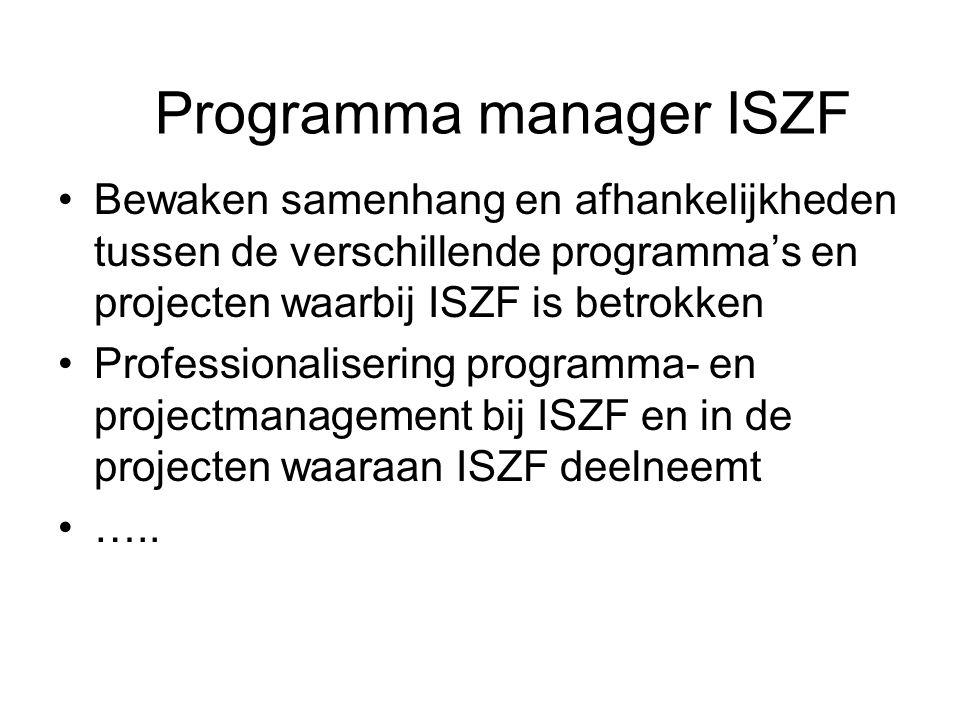 Bewaken samenhang en afhankelijkheden tussen de verschillende programma's en projecten waarbij ISZF is betrokken Professionalisering programma- en projectmanagement bij ISZF en in de projecten waaraan ISZF deelneemt …..