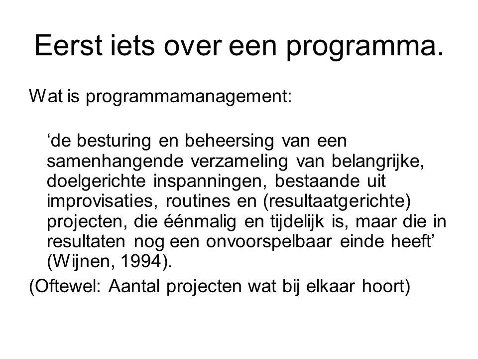 Eerst iets over een programma.