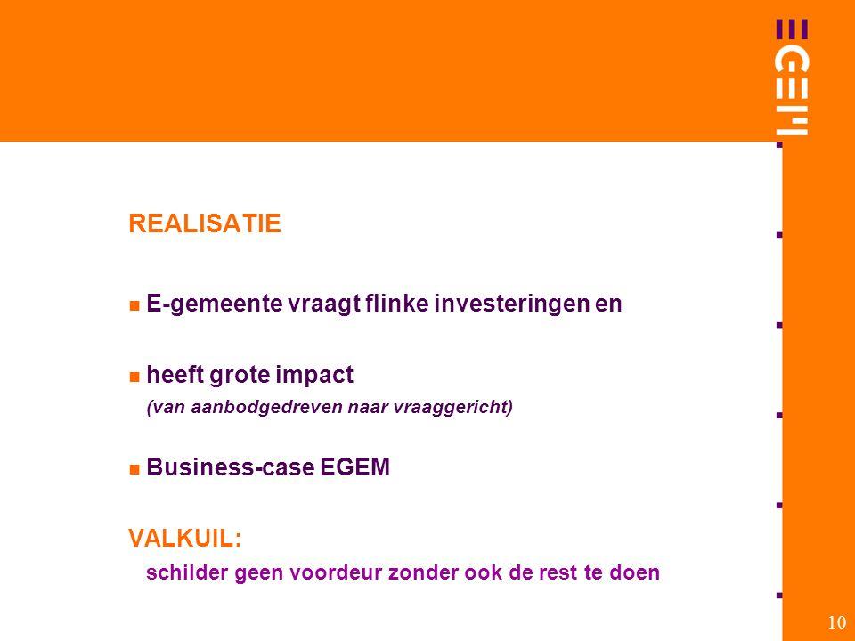 10 REALISATIE E-gemeente vraagt flinke investeringen en heeft grote impact (van aanbodgedreven naar vraaggericht) Business-case EGEM VALKUIL: schilder geen voordeur zonder ook de rest te doen