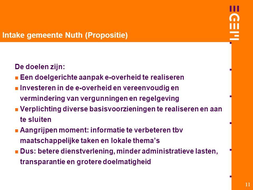 11 Intake gemeente Nuth (Propositie) De doelen zijn: Een doelgerichte aanpak e-overheid te realiseren Investeren in de e-overheid en vereenvoudig en v