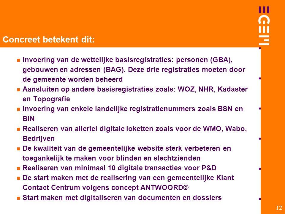 12 Concreet betekent dit: Invoering van de wettelijke basisregistraties: personen (GBA), gebouwen en adressen (BAG). Deze drie registraties moeten doo