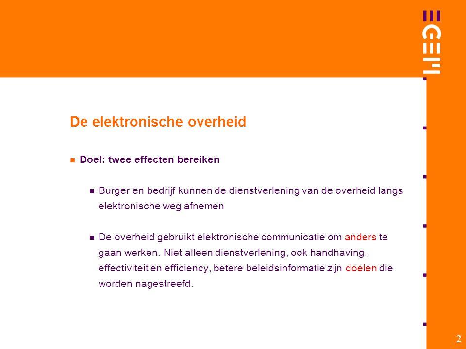 2 De elektronische overheid Doel: twee effecten bereiken Burger en bedrijf kunnen de dienstverlening van de overheid langs elektronische weg afnemen D