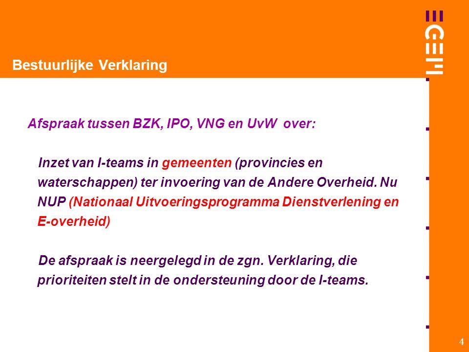 4 Bestuurlijke Verklaring Afspraak tussen BZK, IPO, VNG en UvW over: Inzet van I-teams in gemeenten (provincies en waterschappen) ter invoering van de Andere Overheid.