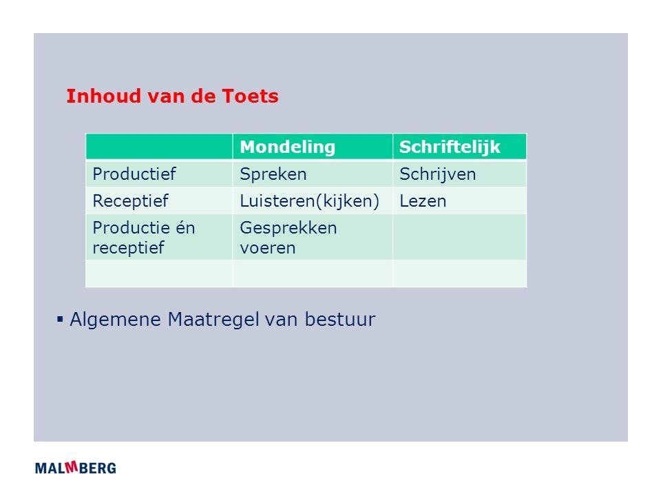 Inhoud van de Toets  Algemene Maatregel van bestuur MondelingSchriftelijk ProductiefSprekenSchrijven ReceptiefLuisteren(kijken)Lezen Productie én receptief Gesprekken voeren