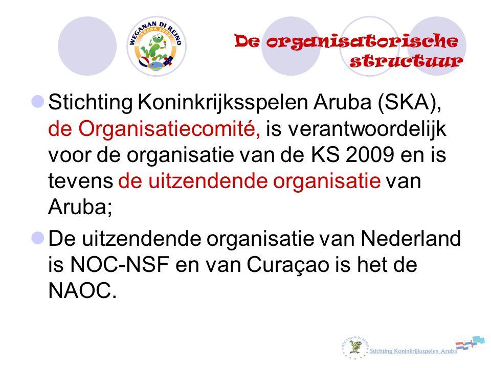 Stichting Koninkrijksspelen Aruba (SKA), de Organisatiecomité, is verantwoordelijk voor de organisatie van de KS 2009 en is tevens de uitzendende organisatie van Aruba; De uitzendende organisatie van Nederland is NOC-NSF en van Curaçao is het de NAOC.