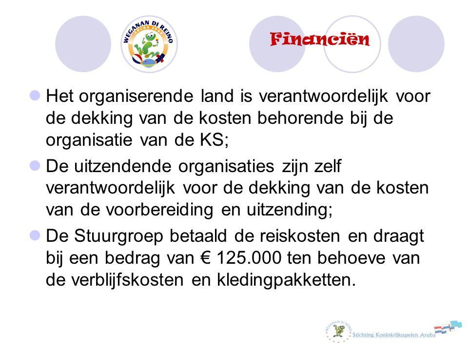 Het organiserende land is verantwoordelijk voor de dekking van de kosten behorende bij de organisatie van de KS; De uitzendende organisaties zijn zelf
