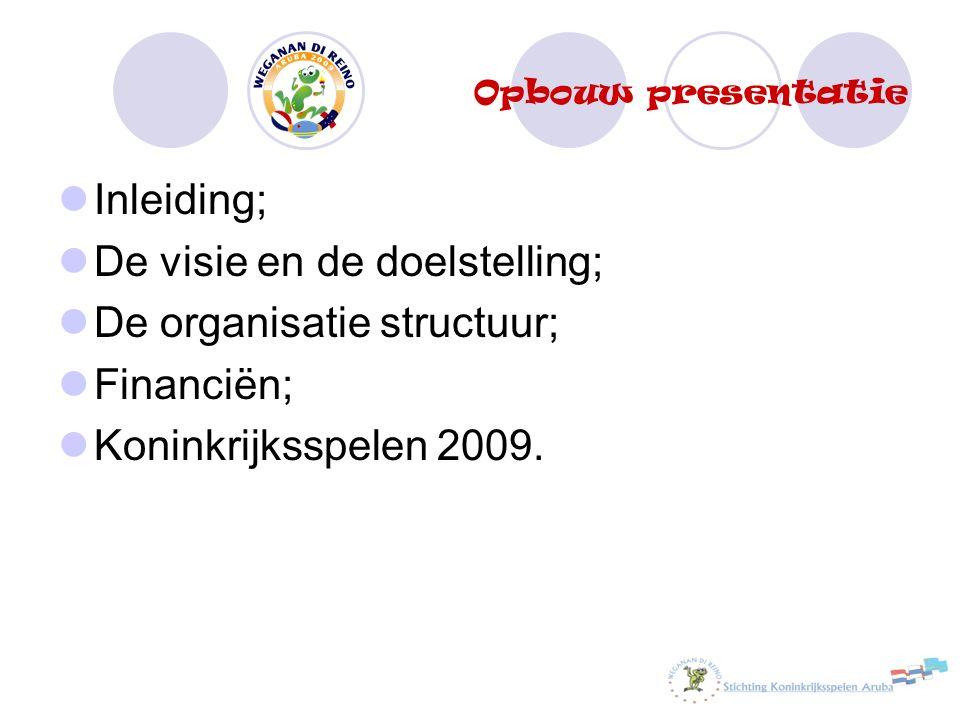 Opbouw presentatie Inleiding; De visie en de doelstelling; De organisatie structuur; Financiën; Koninkrijksspelen 2009.
