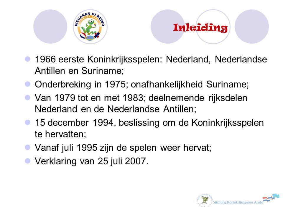 Inleiding 1966 eerste Koninkrijksspelen: Nederland, Nederlandse Antillen en Suriname; Onderbreking in 1975; onafhankelijkheid Suriname; Van 1979 tot e