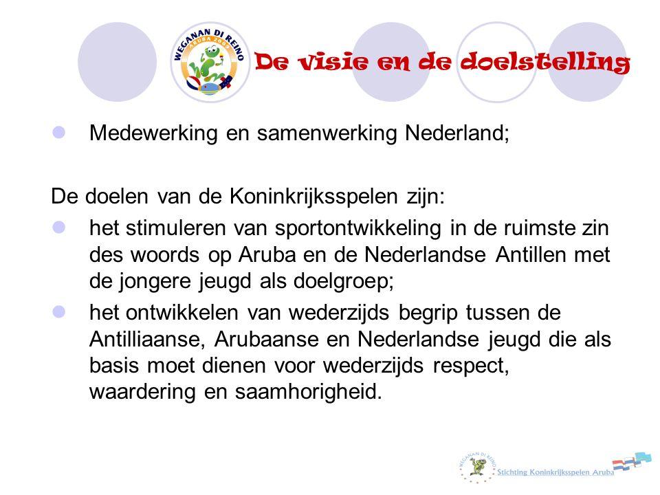 De visie en de doelstelling Medewerking en samenwerking Nederland; De doelen van de Koninkrijksspelen zijn: het stimuleren van sportontwikkeling in de