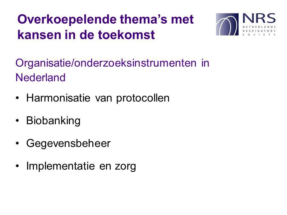 Organisatie/onderzoeksinstrumenten in Nederland Harmonisatie van protocollen Biobanking Gegevensbeheer Implementatie en zorg Overkoepelende thema's met kansen in de toekomst