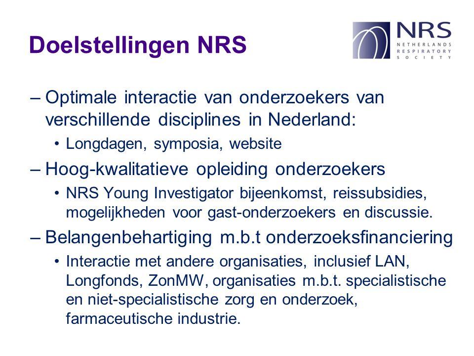 Doelstellingen NRS –Optimale interactie van onderzoekers van verschillende disciplines in Nederland: Longdagen, symposia, website –Hoog-kwalitatieve opleiding onderzoekers NRS Young Investigator bijeenkomst, reissubsidies, mogelijkheden voor gast-onderzoekers en discussie.