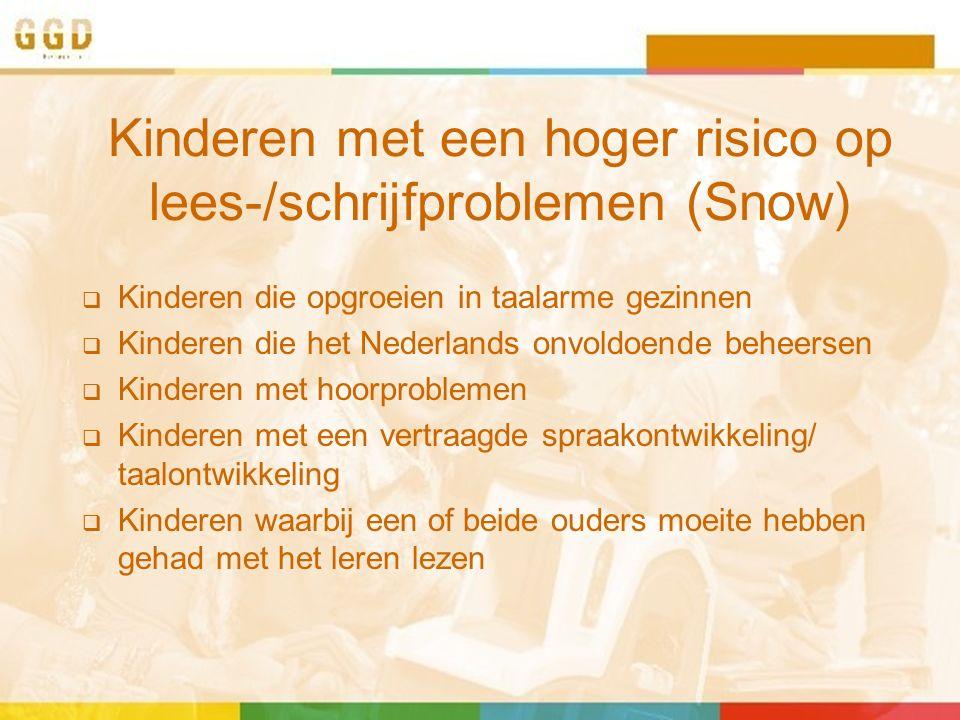 Kinderen met een hoger risico op lees-/schrijfproblemen (Snow)  Kinderen die opgroeien in taalarme gezinnen  Kinderen die het Nederlands onvoldoende beheersen  Kinderen met hoorproblemen  Kinderen met een vertraagde spraakontwikkeling/ taalontwikkeling  Kinderen waarbij een of beide ouders moeite hebben gehad met het leren lezen