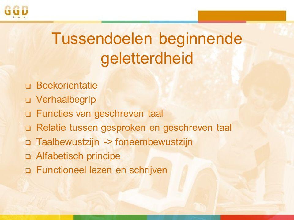 Tussendoelen beginnende geletterdheid  Boekoriëntatie  Verhaalbegrip  Functies van geschreven taal  Relatie tussen gesproken en geschreven taal  Taalbewustzijn -> foneembewustzijn  Alfabetisch principe  Functioneel lezen en schrijven