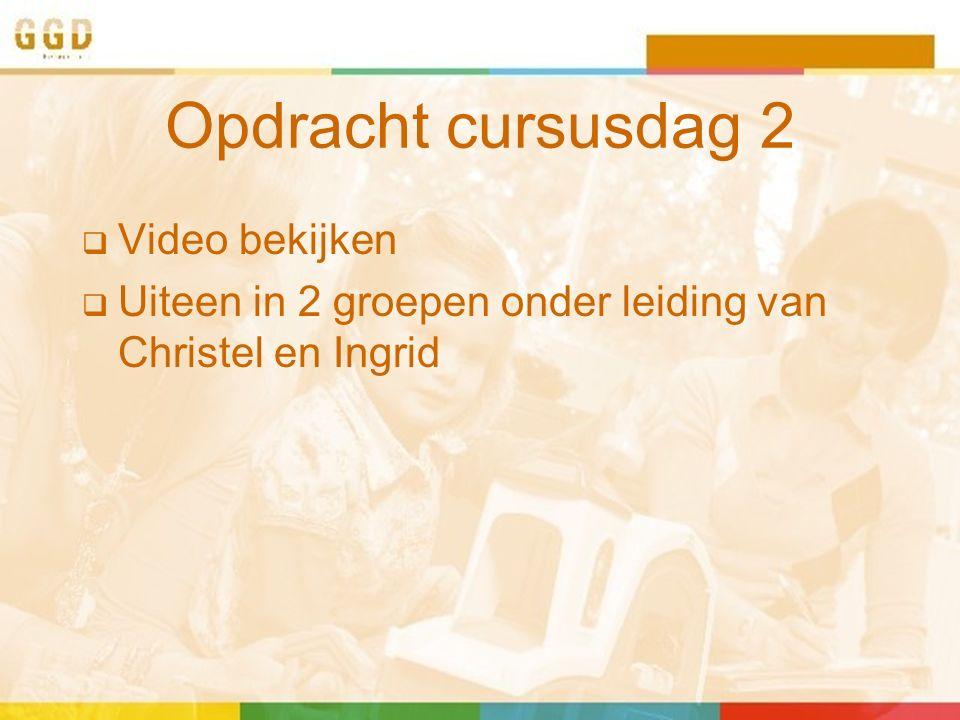 Opdracht cursusdag 2  Video bekijken  Uiteen in 2 groepen onder leiding van Christel en Ingrid