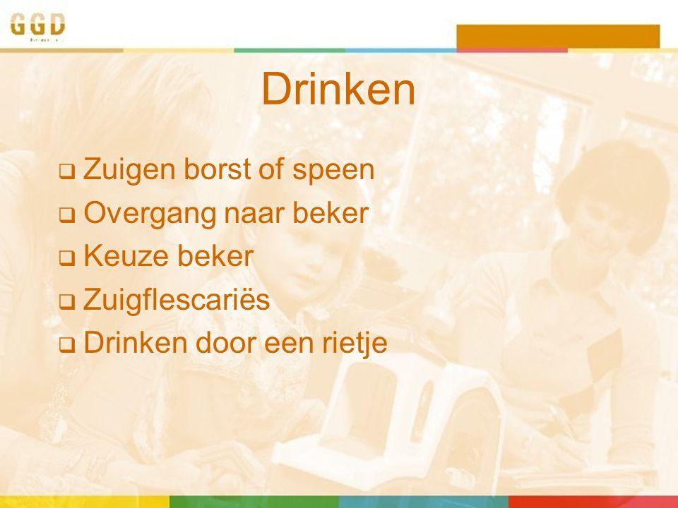 Drinken  Zuigen borst of speen  Overgang naar beker  Keuze beker  Zuigflescariës  Drinken door een rietje